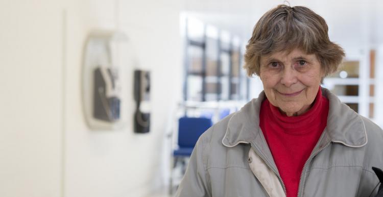 Woman stood in a hospital corridor
