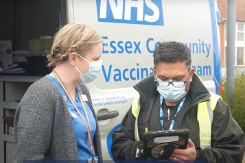 Essex Community Vaccination team outside Van